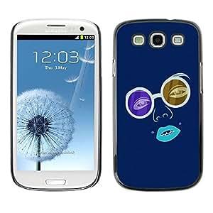 LECELL -- Funda protectora / Cubierta / Piel For Samsung Galaxy S3 I9300 -- Blue Hippy Glasses --