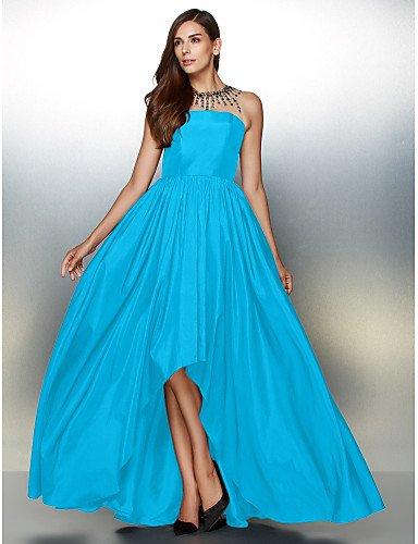 amp;OB Una Cuello Línea Crystal De Con Detallando Asimétrica Vestido Blue Prom De Noche HY Formal Joya De Tafetán dqpd50