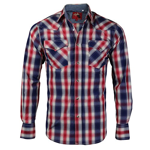 Rodeo Clothing Co. Men's Western Cowboy Pearl Snap Long Sleeve Plaid Shirt (X-Large, 424 - Red White - 424 Clothing
