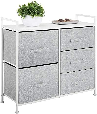 mDesign Wide Dresser Storage Tower – Sturdy Steel Frame, Wood Top, Easy Pull Fabric Bins – Organizer Unit for Bedroom, Hallway, Entryway, Closets – Textured Print, 5 Drawers – Gray/White