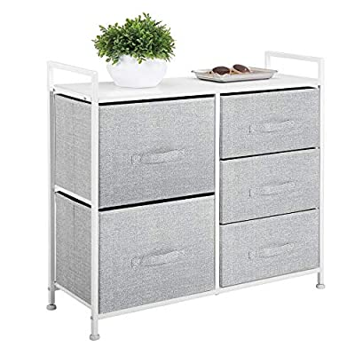 mDesign Wide Dresser Storage Tower - Sturdy Steel Frame, Wood Top, Easy Pull Fabric Bins - Organizer Unit for Bedroom, Hallway, Entryway, Closets - Textured Print, 5 Drawers - Gray/White - STYLISH SMART STORAGE: This furniture stand boasts a slim, light weight design to easily fit into smaller spaces while still providing plenty of storage space; Wood top provides a hard surface to place lamps, books, decor, and more; The generously sized removable drawers have an easy pull handle to make opening and closing simple; Plastic feet will not scratch flooring, and they are adjustable for uneven surfaces FUNCTIONAL & VERSATILE: Create coordinated organization in any room of the house; Great for children, tweens and adults; Use anywhere you want to add a little style to your organizational needs; This easy-to-use chest of drawers can be used in multiple rooms throughout the home; Great for closets, bedrooms, nurseries, playrooms, entryways and more; Ideal for small spaces such as apartments, condos, and college dorm rooms QUALITY CONSTRUCTION: Made of breathable non-woven synthetic fabric; Strong steel frame and durable MDF wood top; Plastic feet protect floors; Hardware is included for hassle-free installation; Easy Care - wipe clean with a damp cloth and allow to air dry - dressers-bedroom-furniture, bedroom-furniture, bedroom - 51VAkHwigJL. SS400  -
