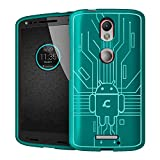 Droid Turbo 2 Case, Cruzerlite Bugdroid Circuit Case Compatible for Motorola Droid Turbo 2 - Retail Packaging - Teal