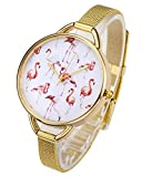 Top Plaza Womens Fashion Gold Tone Analog Quartz Bracelet Wrist Watch, Cute Pink Flamingos Pattern, Mesh Metal Thin Band