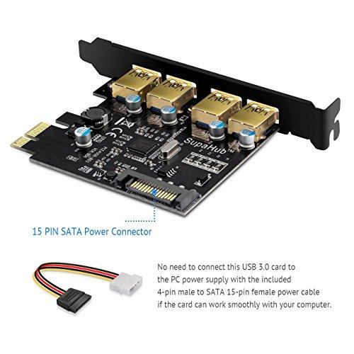 SupaHub PCI-E to USB 3.0 4-Port PCI Express Expansion Card, Windows XP, Vista, 7, 8, 10, Includes Driver and SATA 15-Pin Power Connector,2018 Version by SupaHub (Image #3)