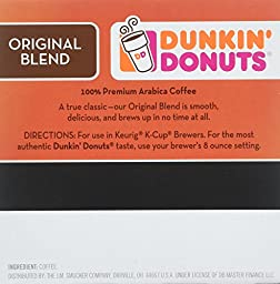 Dunkin\' Donuts Coffee for K-cup Pods, Original Blend, 60 Count