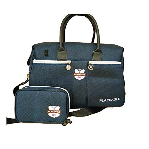 PLAYEAGLE Blue Nylon Waterproof Golf Duffle Bag Golf Clothing Bag,Boston Bag with Shose Pocket,Travel Duffle Bag including Mini Golf Pouch