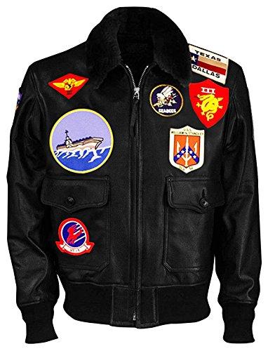 Tom Cruise Top Gun Maverick Fur Collar Patches Shearling Aviator Pilot Bomber Real Leather Jacket
