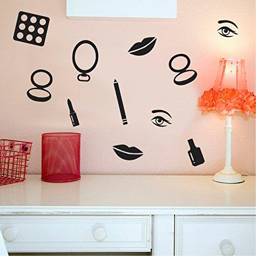Makeup Set of 16 Vinyl Art Wall Decals - 1 to 4 Each - Vinyl Wall Stickers - Beauty Trend Vinyl Stickers - Bedroom Dorm Room Vinyl Stickers - Fashion Wall Art Vinyl Sticker Decor