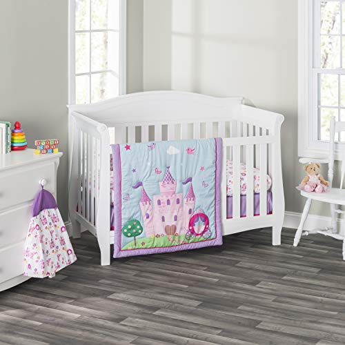 Everyday Kids 3 Piece Girls Crib Bedding Set -Princess Storyland – Includes Quilt, Fitted Sheet and Dust Ruffle – Nursery Bedding Set – Baby Crib Bedding Set