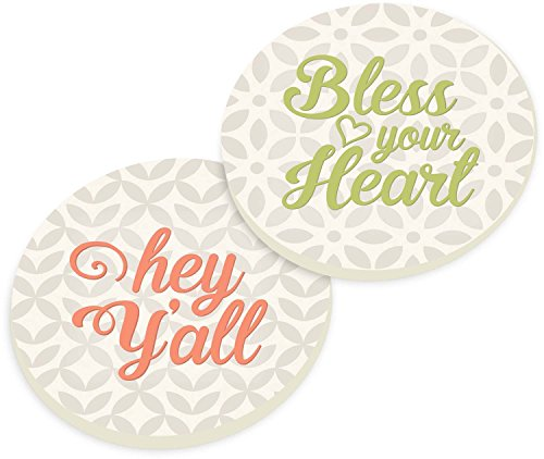 Hey Y'all Bless Your Hear Floral White Gray Ceramic Car Coaster Pack (Set of 2) Car Coaster Set