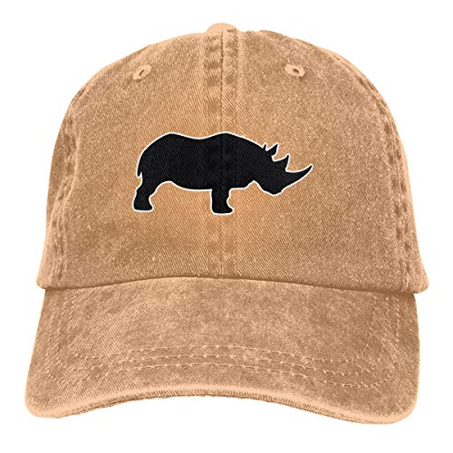 (Rhino Silhouette Classic Baseball Cap Trucker Hat Adult Unisex Adjustable Denim Cap)