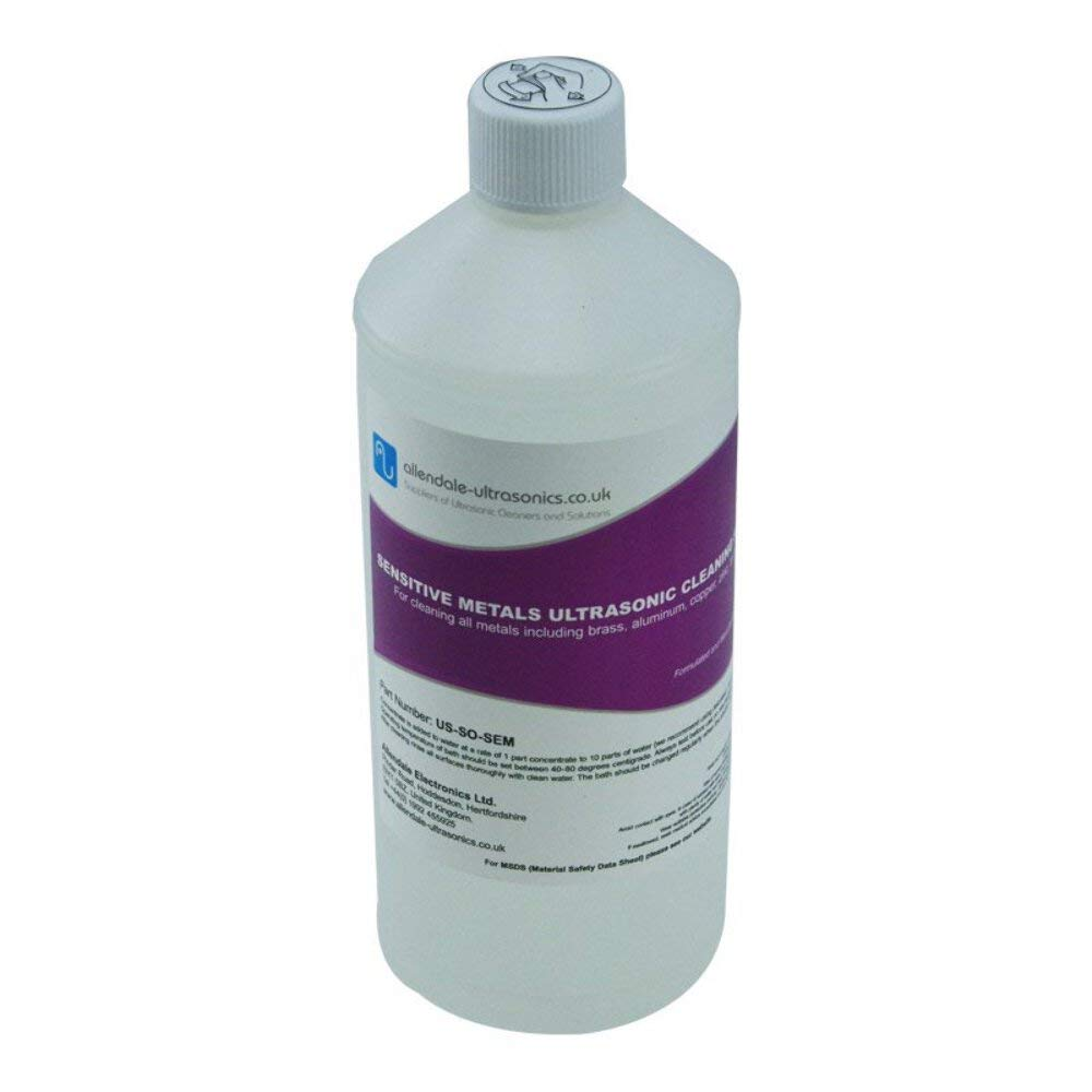 Sensitive Metals Ultrasonic Cleaner Solution Ideal for Brass, Copper, Aluminium - 1 Litre Cleaning Fluid by Allendale Ultrasonics