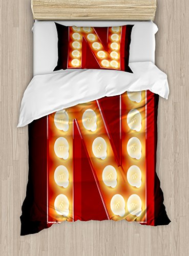 Ambesonne Letter N Duvet Cover Set Twin Size, Old Fashioned Movie Theater Carnival Casino Entertainment Night Life, Decorative 2 Piece Bedding Set with 1 Pillow Sham, Vermilion Yellow Black by Ambesonne