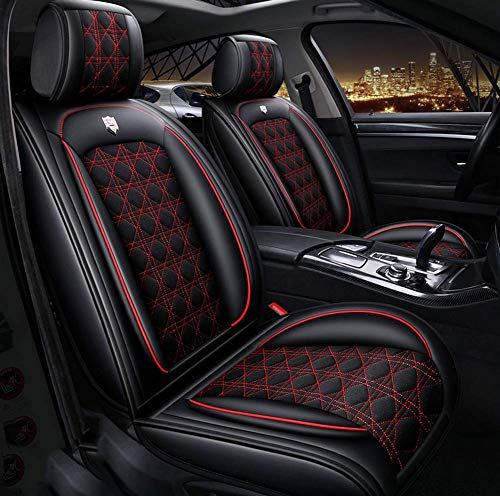 AYCYNI Four Seasons Seat Covers All Surrounded by Car Cushions Car Seat 5 Seats Full Set - Anti-Slip Suede Backing Universal Fit Car Seat Covers for Both Fabric And Leather Car Seats,White,Red: Kitchen & Home