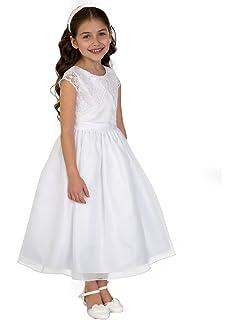 3115d6005f0 Amazon.com  US Angels Cap Sleeve Illusion Lace Bodice w Full Skirt ...