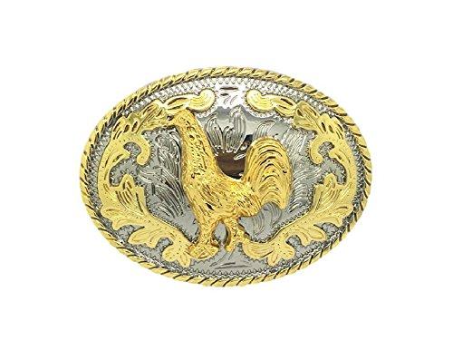 KeCol Unisex Adult Bullfighting Rooster Cowboy Oval Western Belt Buckle Golden - Western Oval Belt Buckle