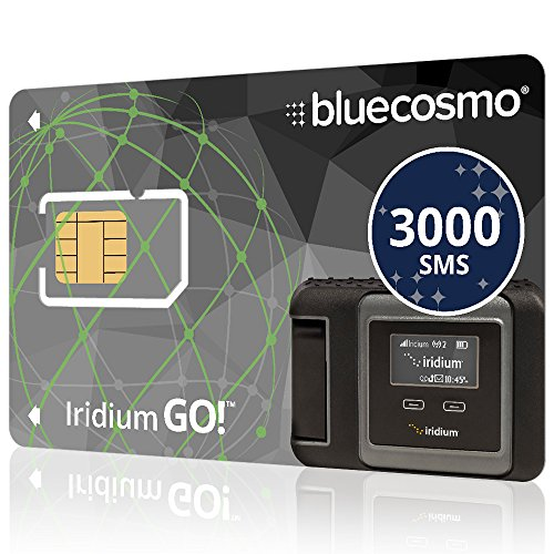 BlueCosmo Iridium GO! 3000 SMS Text Messaging Prepaid Global SIM Card - 6 Month Expiry - 3000 Satellite Messages - 120 Voice Mins - 60 Data Mins - No Activation or Monthly Fees - 24/7 Online Acct Mgmt