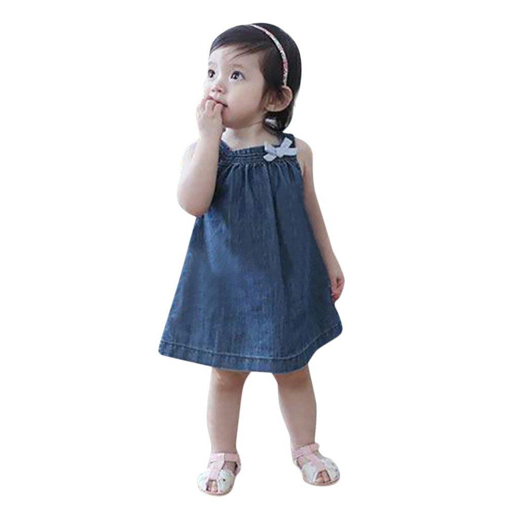 feiXIANG Vestido de Las niñas Vestido de Mezclilla Arco Vestido de Falda Falda de Las niñas Ropa de Fiesta niñas bebé Verano Vestido Elegante: Amazon.es: ...