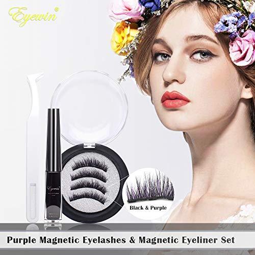 Eyewin 2 Pairs Magnetic Eyelashes & Magnetic Eyeliner Kit, Purple & Black Full Eye False Lashes 4ml Liquid Eyeliner 5 Magnet Cosmetics Natural Look Reusable with Eyelash Tweezers