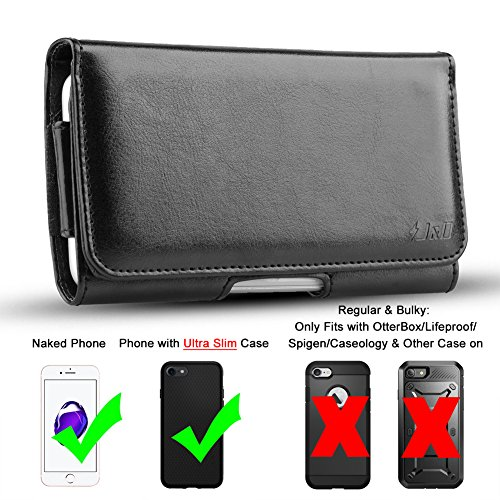 J&D Holster Compatible for iPhone Xs/iPhone X/iPhone 8/iPhone 7 Holster, PU Leather Pouch Case with Belt Clip, Leather Wallet Case for Apple iPhone Xs Case (Fit with Naked Phone or Slim Case On)-Black