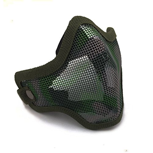 Ecloud Shop® Tactical Airsoft Masque Visage Striker Acier Métal Mesh Bas Demi-Masque 2
