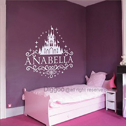 Princess Castle Girls Nursery Decor Personalized Girl Name Wall Decal for Kids Room Bedroom (30
