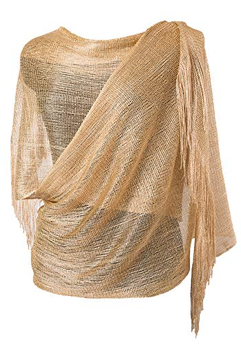Wedding Evening Wrap Shawl Glitter Metallic Prom Party Scarf with Fringe(Champagne Gold) ()