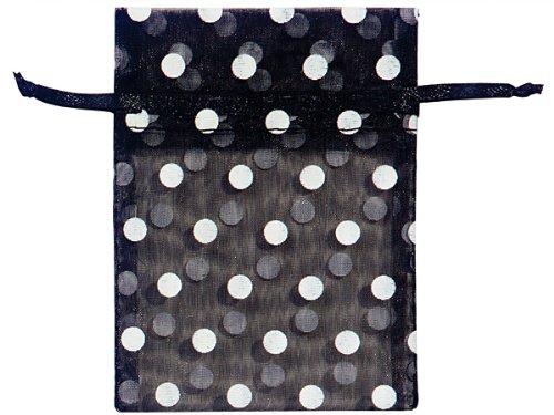 BLACK & WHITE DOTS 3x4''Polka Dot Organza Bags 25 unit, 10 pack per unit.