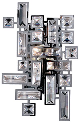 (Allegri Lighting 11191-010-FR001 Vermeer 2-Light Wall Sconce with Clear Firenze Crystal, Chrome Finish )