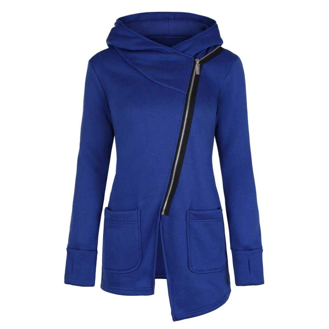 Mikey Store Women Coat Winter Clearance Casual Oblique Zipper Hoodie Jacket Coat
