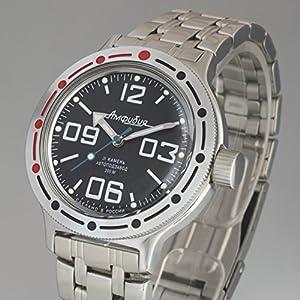 Vostok Amphibian Automatic Mens Wristwatch Self-Winding Military Diver Amphibia Case Wrist Watch #420819 (Steel 1)