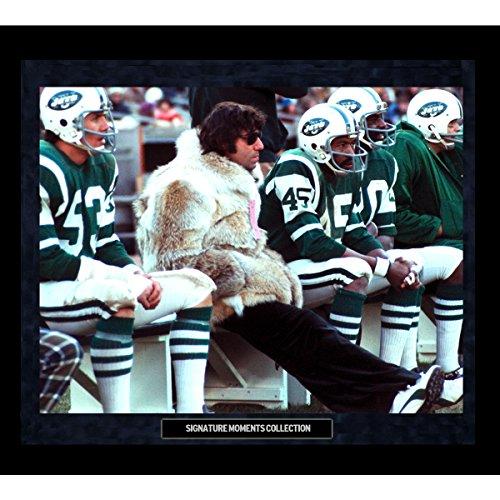 Joe Namath In Fur Coat On Sidelines Custom Framed Golden Moments 16 inch x 20 inch Photo