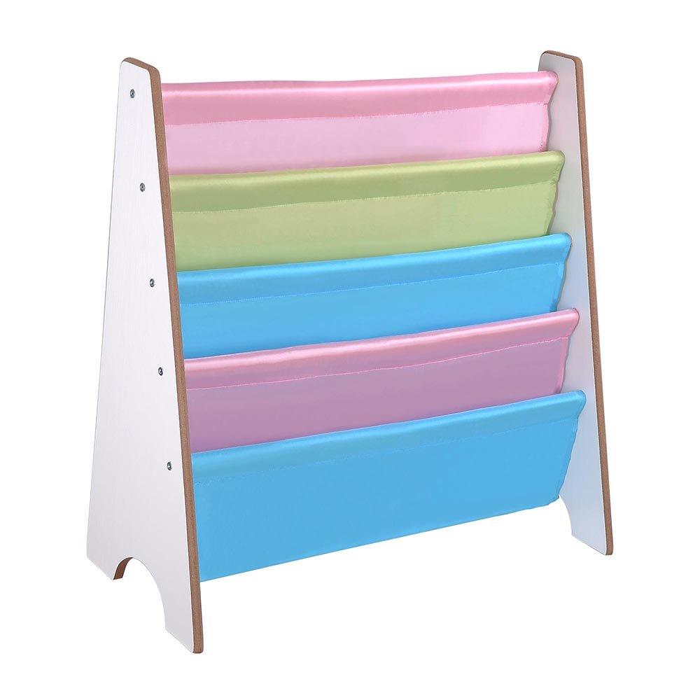 YesHom Wood Kids Book Shelf Sling Storage Rack Organizer Bookcase Display Holder White
