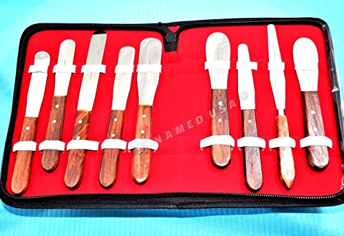 (NEW PREMIUM Grade STAINLESS STEEL set of 9 Pieces Dental Mixing Spatula Plastic Alignate Mixing-wooden handle)