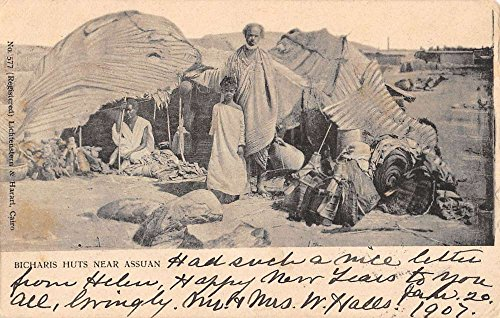 Aswan Egypt Bicharis Huts Native Family Antique Postcard K10064 (Huts Native Postcard)