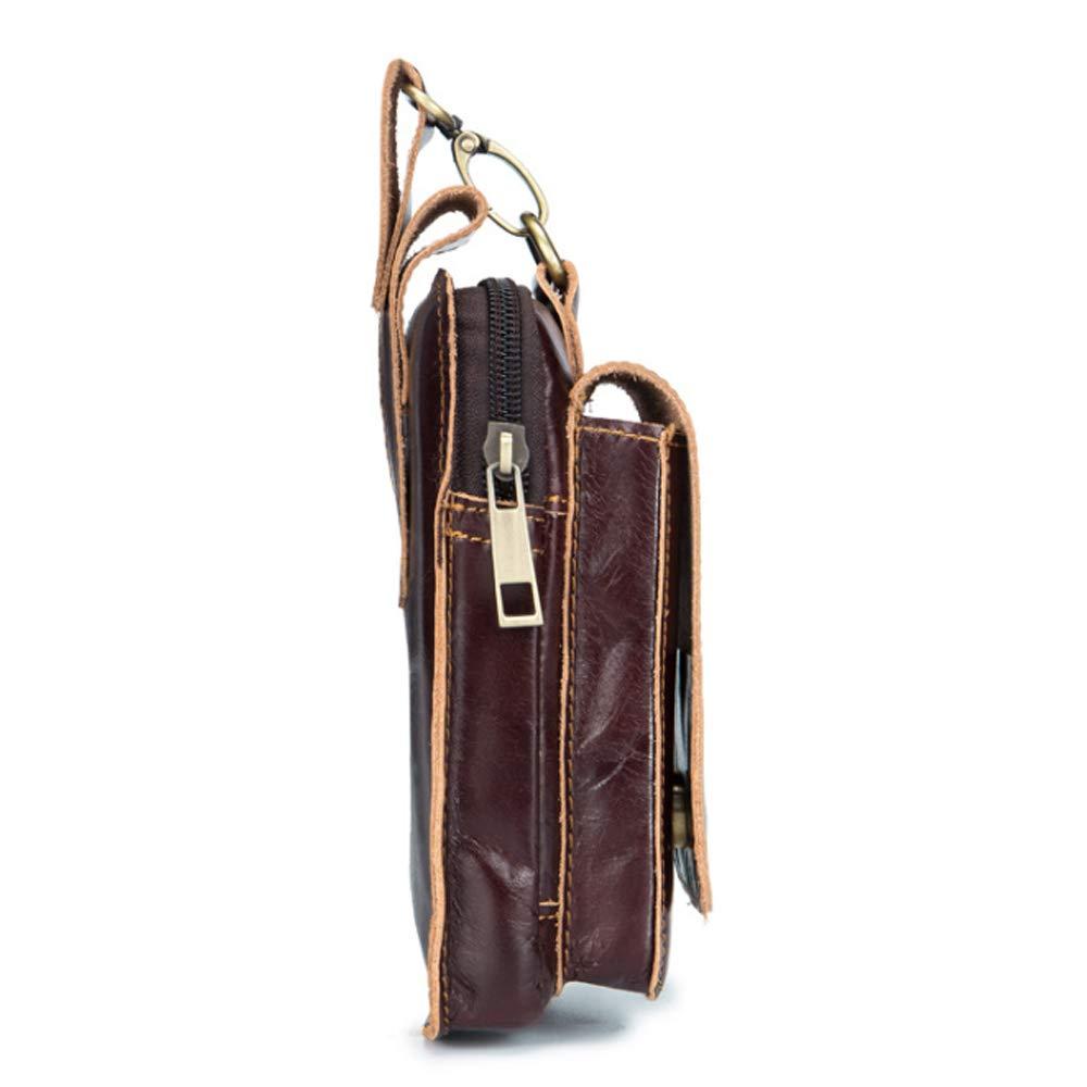 Color : Brown, Size : S Shengjuanfeng Mens Waist Bag Oil Wax Leather Belt 5 Inch Mobile Phone Multifunction Waist Bag with Hood Magnetic Buckle Bag