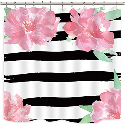 Riyidecor Black and White Floral Stripe Shower Curtain Watercolor Peony Pink Ivy Flowers Blossoms Herbs Decor Fabric Set Polyester Waterproof Fabric 72x72 Inch 12 Pack Plastic Hooks (Curtain Pink Stripe)