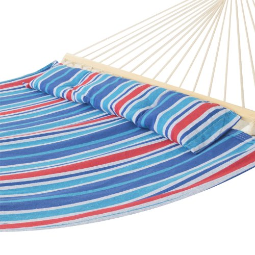 OUTT® Stripe Foldable Double Size Hammock with Pillow and Spreader Bar (blue)