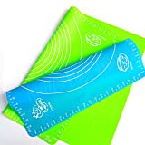 Xixihaha Silicone Baking Mat Pastry Rolling with Measurements 15.7''X19.7'' Reusable Non-Stick Silicone Baking Mat Set of 2(Blue&Green
