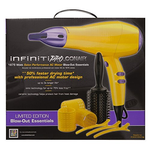 Amazon.com: Conair 1875 Watt Infiniti Pro LIMITED EDITION Blow-Out Hair Dryer Essentials Tool Set, Yellow Model 325: Beauty