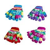 Kids Winter Knit Gloves, 4 Pack Children's Magic Stretch Gloves Mittens Windproof Thicken Kit Warm Ski Gloves Boys Girls Toddlers, Random Color