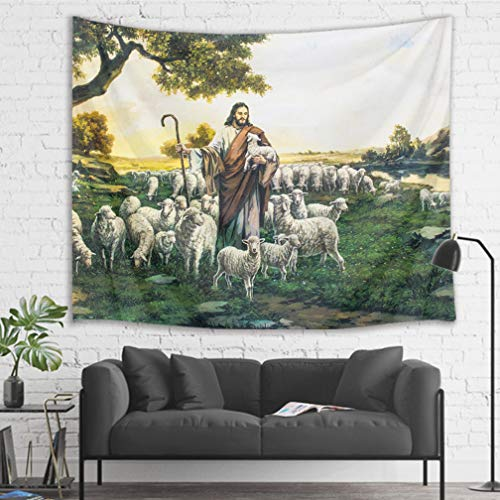 Sheep Tapestry - HVEST Christian Tapestry Jesus with Sheep and Lamb in Mountain Wall Hanging Religious Tapestries for Bedroom Living Room Dorm Decor,80Wx60H inches