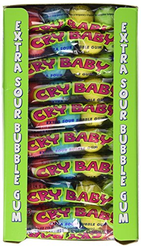 Cry Baby Extra Sour Original Bubble Gum 4 Count Tubes (Pack of 36 - Tears Candy Sour