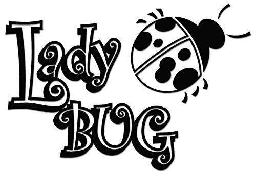 (Ladybug Insect Vinyl Decal Sticker For Vehicle Car Truck Window Bumper Wall Decor - [6 inch/15 cm Wide] - Gloss WHITE Color)