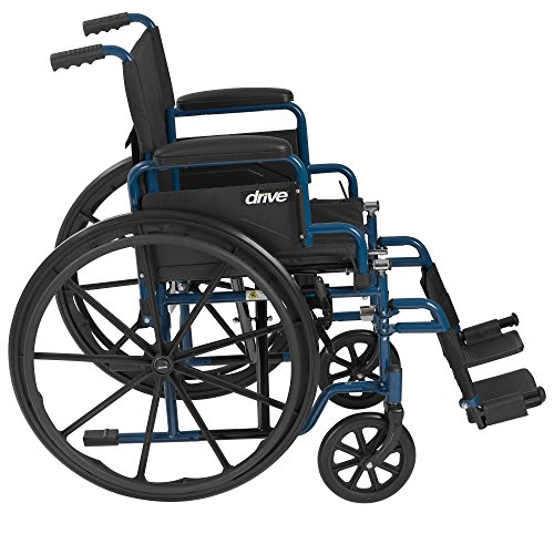 Drive Medical Blue Streak Wheelchair with Flip Back Desk Arms, Swing Away Footrests, 18'' Seat by Drive Medical (Image #1)