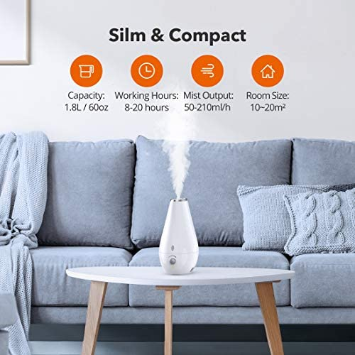 51VAoOlVu9L. AC - Humidifiers For Bedroom, TaoTronics Cool Mist Humidifiers For Babies [BPA Free], 1.8L Quiet Ultrasonic Humidifier, Space-Saving, Filterless, Auto Shut Off-(1.8L/0.48 Gallon, US 110V)