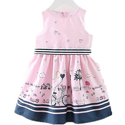 Little Girls Floral Print Butterfly Sleeveless Skirt Dresses 1-7 Years by LUCKFACE (Image #1)