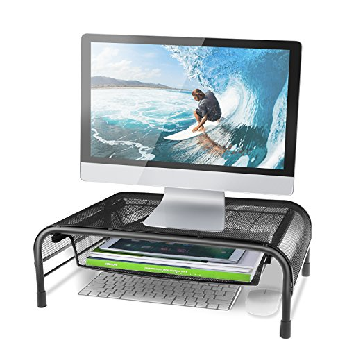 Monitor Stand Desk Riser with Pull Out Storage Drawer - Mesh Metal Tabletop Riser for Computers, Laptops, Printers - Holds up to 44 lbs - Fits Most Computer Brands