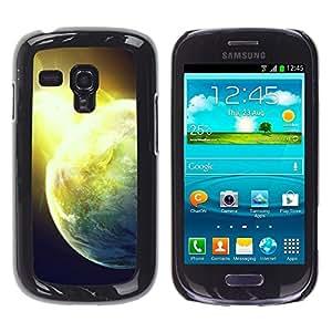 TECHCASE**Cubierta de la caja de protección la piel dura para el ** Samsung Galaxy S3 MINI NOT REGULAR! I8190 I8190N ** Sun Star Space Cosmos Explosion Planets Art