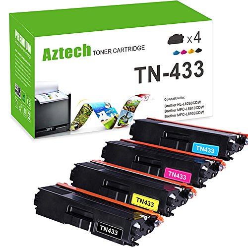 Aztech TN433 High Yield Toner Cartridge for Brother Printer HL-L8360CDW HL-L8360CDWT HL-L8260CDW MFCL8900CDW MFCL8610CDW MFCL9570CDW Color Laser All-in-One TN433 TN431 (MFC-L8900CDW MFC-L8610CDW)